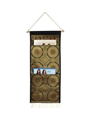 Lal Haveli Home Decor Silk Office Supplies Storage Holder 2 Pocket Black Color 24 X 10 Inch