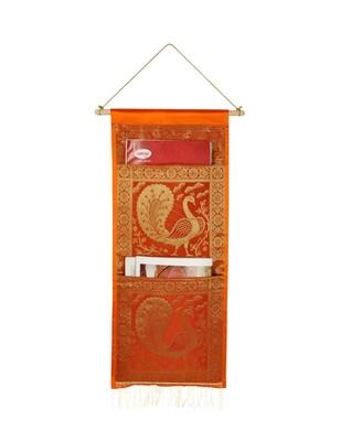 Lal Haveli Ethnic Silk Pecock Design Living Room Decorative wall Hanging 2 pocket Orange Color 24 X10 Inch