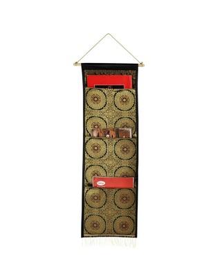 Lal Haveli Living Room Handmade Silk wall Hanging 3 pocket Black Color 34 X 10 Inch