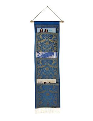 Lal Haveli Handmade Peocock Design Silk wall Hanging 3 pocket Turquoise Color 34 X 10 Inch