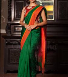 Green Hand Woven Cotton Saree With Blouse