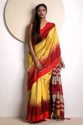 Yellow Hand Woven Blended Cotton Saree With Blouse