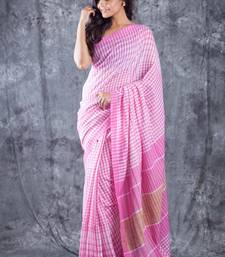 Buy Pink Hand Woven Cotton Saree With Blouse handloom-saree online