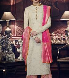 Buy Cream resham embroidery tussar silk salwar with dupatta palazzo online