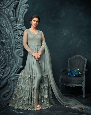5466703f84 Grey embroidered net Anarkali Suit - The Fashion Attire - 2757780