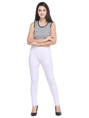 White Color Plain Cotton Leggings