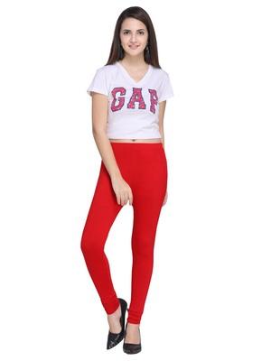 Red Color Plain Cotton Leggings
