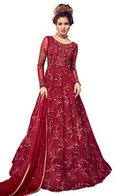 ccbd375b16 Dark Maroon Resham Embroidery Net Anarkali Suit - Brijraj - 2757932