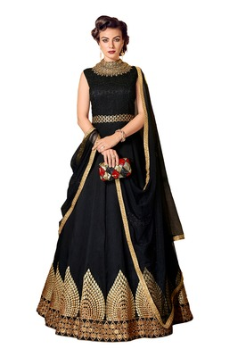 black zari art dupion silk salwar with dupatta