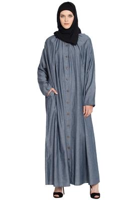 Blue Plain Cotton Abaya