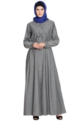 Grey Plain Denim Abaya