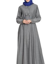 Grey Plain Denim Abaya