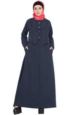 Navy Blue Plain Crepe Abaya