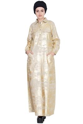 Gold plain cotton abaya