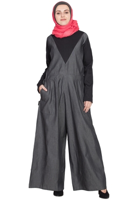 Grey Plain Cotton Abaya