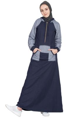 Navy Blue Plain Cotton Abaya