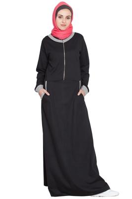 Black Plain Cotton Abaya