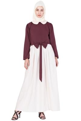 Maroon Plain Crepe Abaya