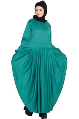 Green plain polyester abaya
