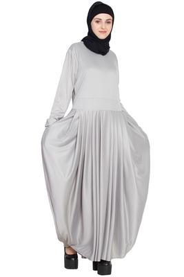 Silver Plain Polyester Abaya