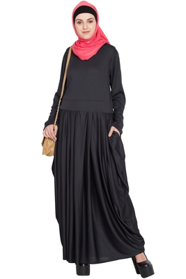 Black Plain Polyester Abaya