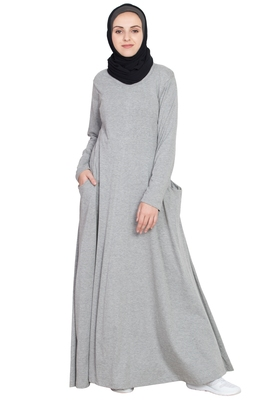 Silver Plain Cotton Abaya