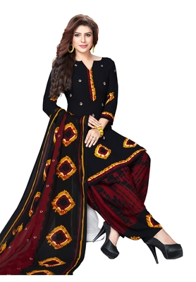 Black and Maroon Synthetic Printed Dress Material with Dupatta