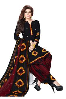 Black And Maroon Synthetic Printed Dress Material With Tta