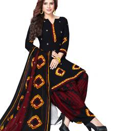 Buy Black and Maroon Synthetic Printed Dress Material with Dupatta dress-material online