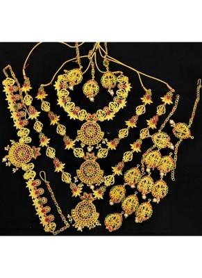 Charming Jewelry Pink Green 18pc Star Temple Jewlery Full Bridal Set