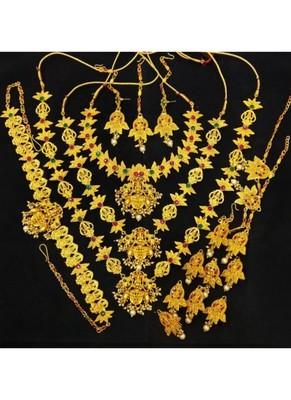 Charming Jewelry Pink Green 18pc Goddess Lakshmi Temple Jewlery Full Bridal Set