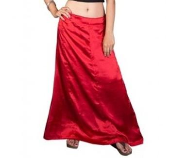 Muhenera red satin free size petticoat