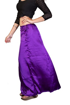 Muhenera Blue Satin Free Size Petticoat