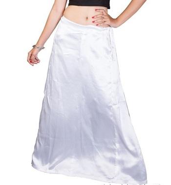 Muhenera White Satin Free Size Petticoat