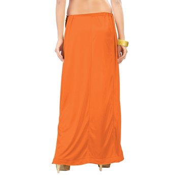 Muhenera Orange Satin Free Size Petticoat