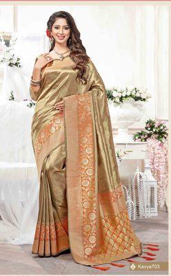 Chiku woven silk saree with blouse
