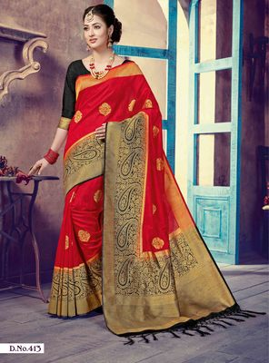 Red woven art-silk-sarees saree with blouse