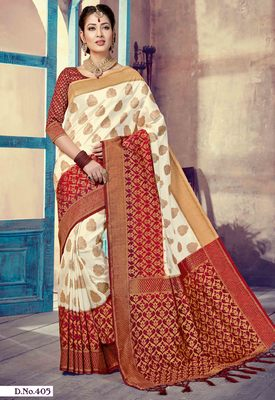 Off white woven art-silk-sarees saree with blouse
