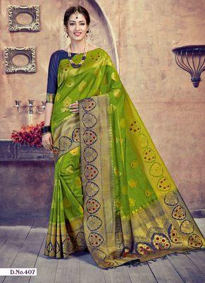 Mehendi woven art-silk-sarees saree with blouse