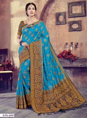 Sky blue woven art-silk-sarees saree with blouse