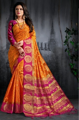 Yellow printed kanchipuram silk saree with blouse
