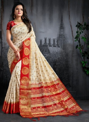 White printed kanchipuram silk saree with blouse