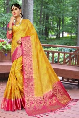 Yellow printed kanchipuram silk saree with blouse