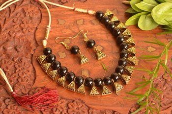 Designer Oxidised Golden Stone Necklace Set