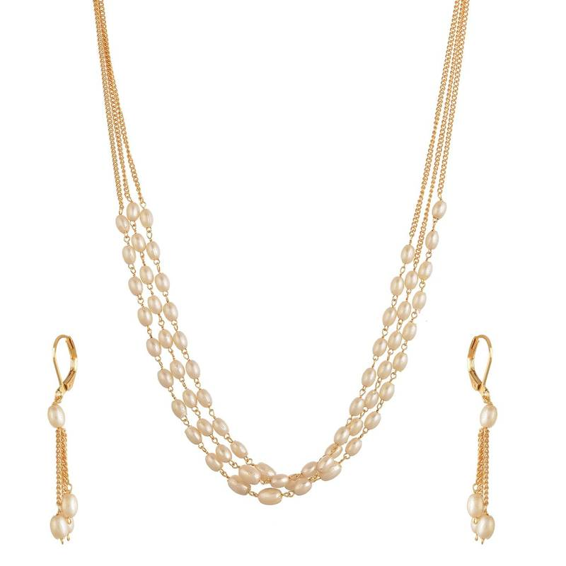 Designer Pearl Stone Golden Chain Necklace Set With Matching Earrings Shreevaram 2758429
