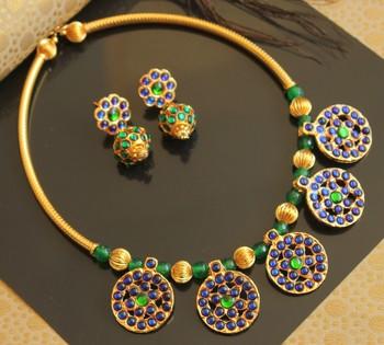 Beautiful Blue Green Designer Temple Necklace Set