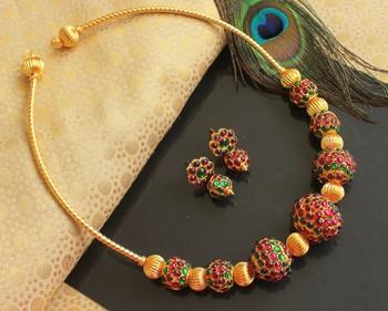 Beautiful Kemp Green Rudhra Balls Designer Necklace Set