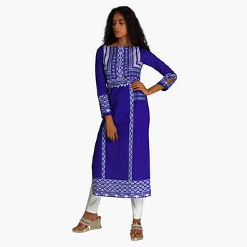 Blue Polyester Three Quarter Sleeves Round Neck stitched kurtas and kurtis