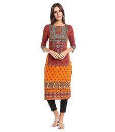 Orange Polyester Three Quarter Sleeves Round Neck stitched kurtas and kurtis