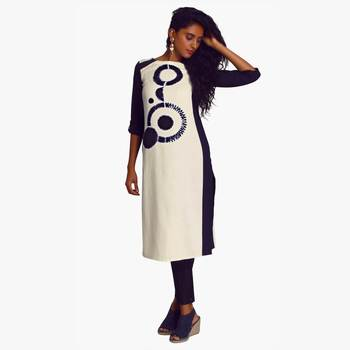 White Polyester Three Quarter Sleeves Round Neck stitched kurtas and kurtis